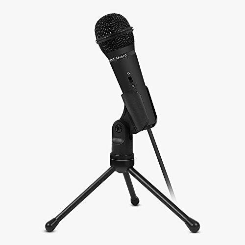 Tekemai Kondensatormikrofon mit 1,8 m Kabellänge und 3,5 mm Stecker, Sound-/Podcast-/Studio-Aufnahmemikrofon für PC, Laptop, Computer, mit Mikrofon-Ständer weiß weiß -
