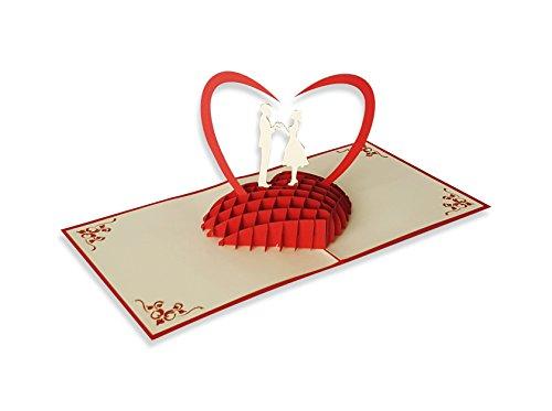 Yokarta 3d biglietto pop up | biglietto matrimonio | biglietto auguri originale fatto a mano con busta per auguri matrimonio | ringraziamento | anniversario | san valentino compleanno | kirigami
