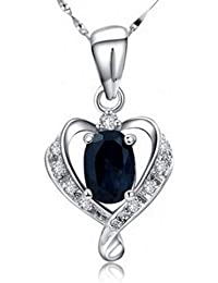 White Gold Plated 925 Sterling Silver Black Crystal Diamond Embed Love Heart Pendant Necklace for Women Fashion Jewelry or for Girlfriend Chain18""