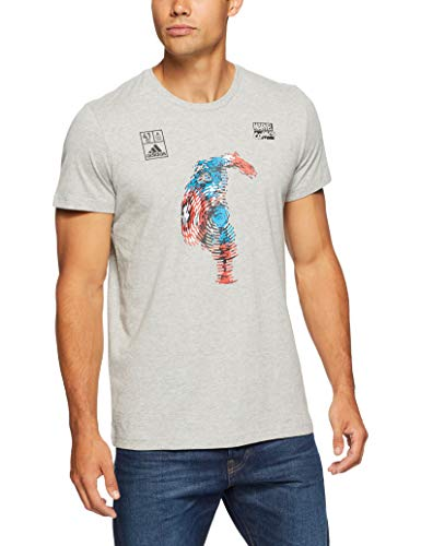 (ADIDAS Herren Marvel Captain America Kurzarm-Shirt, Medium Grey Heather, M)