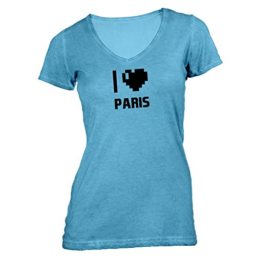 Damen T-Shirt V-Ausschnitt - I Love Paris - Frankreich Reisen Herz Heart Pixel Hellblau