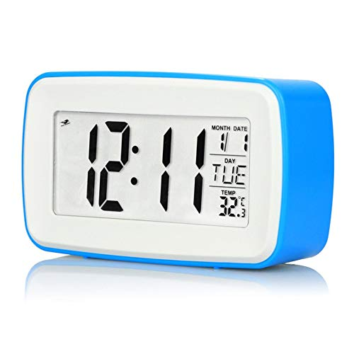WEIWEITOE-DE Touch Digital Recording Wecker Smart Luminous Large Screen Elektronischer Wecker Snooze Clock Reisewecker, Blau, - Touch-screen-wecker