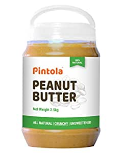 Pintola All Natural Peanut Butter (Crunchy) (2.5kg) | Unsweetened | 30g Protein | Non GMO | Gluten Free | Vegan | Cholesterol Free