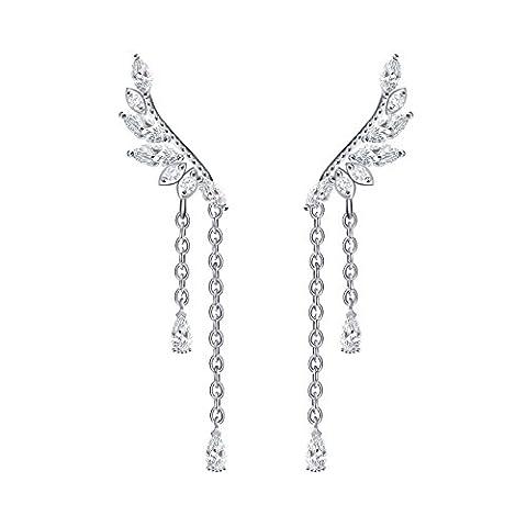 QUKE Women 925 Sterling Silver Angel's wings Cubic Zirconia Crystal