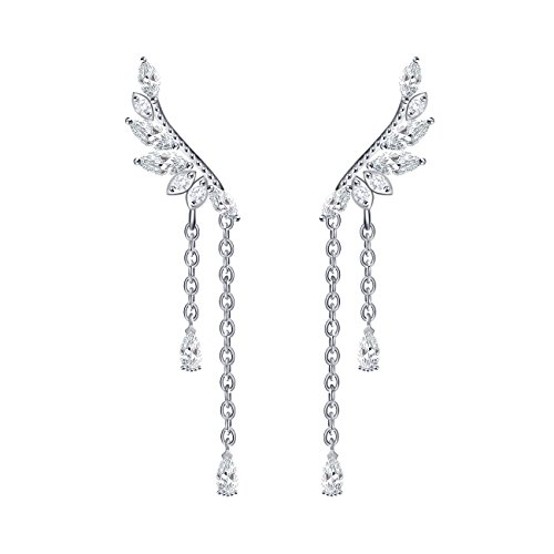 QUKE Damen 925 Sterling Silber Weiß Zirkonia Kristall Ear Cuff Ohrstecker Ohrringe Dangly Ohrhänger hängend Ohrringe