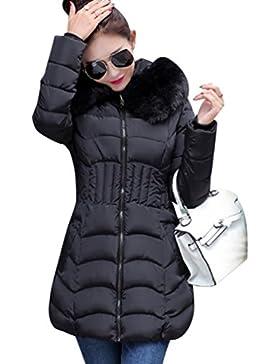 NiSeng Mujer Abrigo Chaqueta Slim Fit Espesar Pelaje Collar Parka Con Capucha Manga Larga Encapuchado Chaquetas