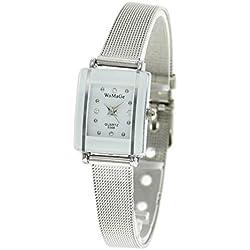 QBD Damen Mädchen Umwerfend Luxus Kristall Stahl Armbanduhr (Silber Mesh)