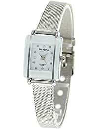 Womens Girls Stunning Luxury Crystal Steel Strap Watch (Silver Mesh)