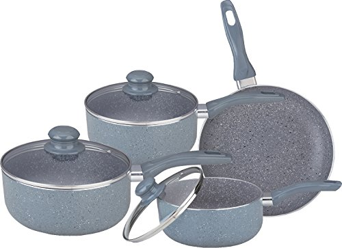 7PC MARBLE COATED ALUMINIUM NON STICK COOKWARE SET FRYING PAN SAUCEPAN GLASS LID (GREY)