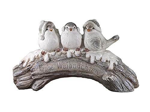 KLP 3 Vögel auf AST Baum Skulptur Paar Deko Winter Spatz Vogel Gruppe Figur Statue