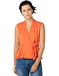Remanika Orange color Knited Polyester fabric Sleeveless Top for womens