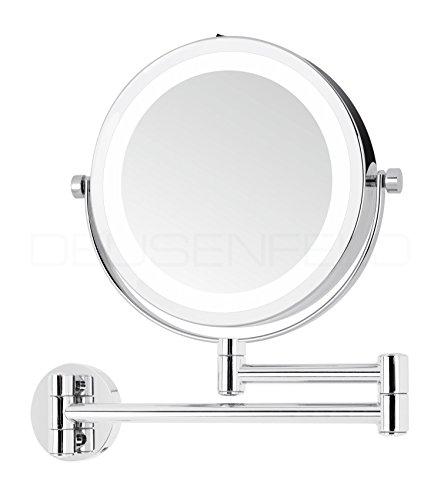 DEUSENFELD WL7CB - Batterie LED Doppel Wand Kosmetikspiegel, 7x Vergrößerung + Normalspiegel,...