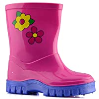 Girls Infant Pink Wellington Boot with Flower Motif 9 (27)