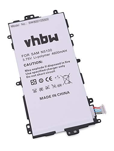 vhbw Li-Polymer Akku 4600mAh (3.7V) für Tablet Pad Netbook Samsung Galaxy Note 8.0, Galaxy Note 8.0 32GB, GT-N5100, GT-N5110 wie SP3770E1H.