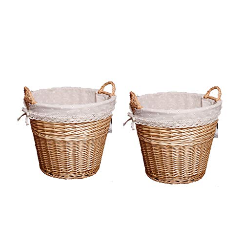 YMJJ Chunky Wicker Fireside Heavy Duty Log Baskets Wasserdichte Lagerung Weaving Baskets Wash Finish Wicker Lined Log Baskets,Flesh