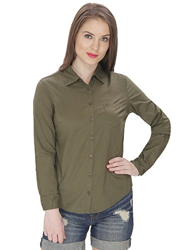 MansiCollections Women's Solid Formal Green Shirt (Medium)