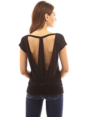 PattyBoutik femmes chic blouse d'un col rond à l'avant et dos nu avec manches courtes Noir