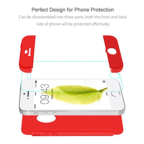 iPhone 5 Cover Nero , ivencase Custodia iPhone 5S / iPhone SE Case Premio Ibrido Rugged 3 in 1 Duro Antigraffio Macchia PC Custodia + Pellicola Vetro Temperato Protettiva per Apple iPhone SE/5/5S 4.0 Rosso