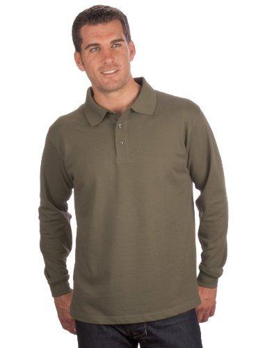 QUALITYSHIRTS Langarm Polo Shirt, Gr. 3XL, oliv