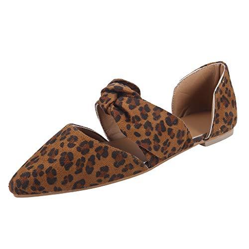 ODRD Sandalen Shoes Lässige Mode-Sommer-Flache beiläufige Schuhe Leopard-Bogen Spitze Zehe pumpt die Schuhe der Frauen Schuhe Strandschuhe Freizeitschuhe Turnschuhe - Bögen Kostüm Stiefel