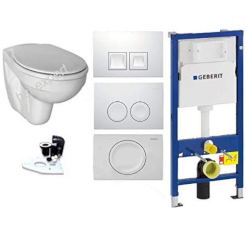 Geberit Set Duofix Vorwandelement UP 100 + Ideal Standard WC mit LotusClean Beschichtung + Absenkautomatik + Delta 21 Drückerplatte + WC Deckel