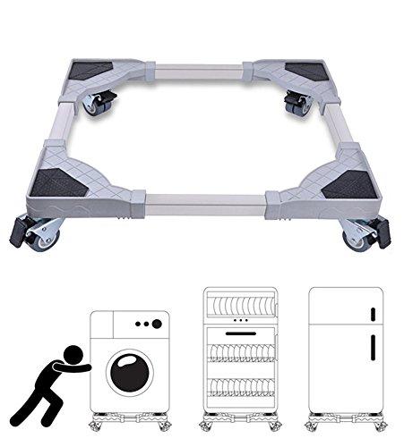 Miyare Waschmaschine Sockel Untergestell für Kühlschrank Verstellbare Sockel mit 4 set Gummi-Schwenkräder für Trockner, Waschmaschine und Kühlschrank (Mit Rädern)
