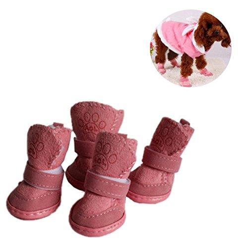 Sannysis Zapatos de Seguridad Mascotas Dress up Zapatillas Navidad Mascotas Perros Pequeños Botas de Invierno Accesorios Ropa de Disfraces Cálida Zapatos de Algodón Cachorro (L, Rosa)