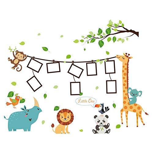 PROKTH Vinilos de pared infantiles Pegatinas decorativas pared Papel tapiz para pared Coche Dormitorio Cocina Dibujos animados León Tigre 1PC