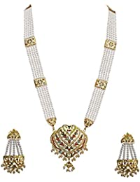 Lucky Jewellery Designer Multi Color Gold Plated Pearl Layered Guluband Necklace With Earring For Girls & Women