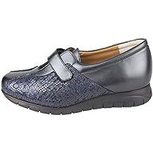 cde9911c CARI FALCÓ - Zapato Ancho y cómodo, con Plantillas extraibles, Color Azul.  Ancho