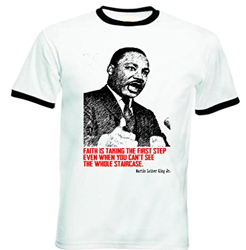 Jr Ringer (Teesquare1st Men's MARTIN LUTHER KING JR 4 Black Ringer T-shirt Size Large)
