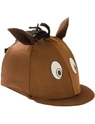 William Hunter Equestrian - Forro para casco de equitación infantil (licra), diseño de cabeza de caballo marrón marrón