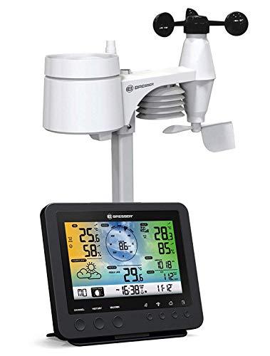 Bresser Wetterstation Funk mit Außensensor Wetter Center 5-in-1 mit 5,7 Zoll Farb-Dispay und Außensensor für Temperatur, Luftfeuchtigkeit, Wind, Luftdruck, Niederschlag (Regenmesser)