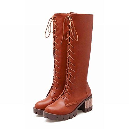 Mee Shoes Damen modern chunky heel mit Schnürsenkel langschaft Stiefel Braun
