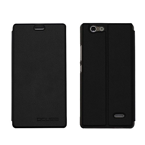 Guran® PU Leder Tasche Etui für Oukitel C4 Smartphone Flip Cover Stand Hülle Case-schwarz