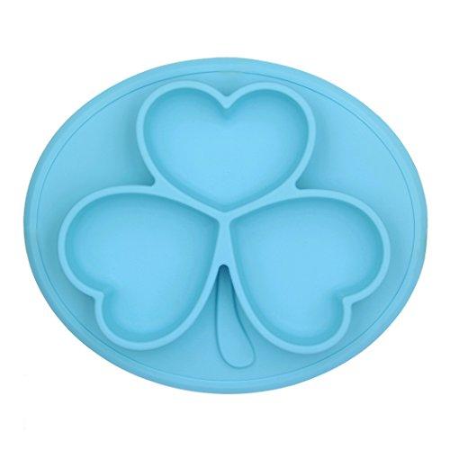 Kuke Silikon Tisch-Sets, Tisch MATS mit Lattice Speisen Tablett, Kleeblatt Teller Matten für Baby Kleinkind Kid Kinder blau Hot-wasser Zu Den Mahlzeiten