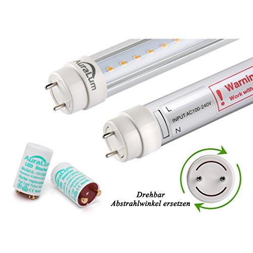 2er Auralum® 60cm Leuchtstoffröhre Warmweiß 2800~3200K 10W 1085LM T8 G13 LED Röhre Tube Leuchtmittel mit der transparenten Abdeckung inkl. LED Starter ersetzt 18W Gasröhre