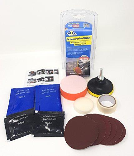 ATG Faros FRESH -Set de pulido de faros, elimina rayas y arañazos de los faros de plástico- 16 piezas. Set de reparación para faros - Set de cuidado plástico para autos DIY Repair Smart (Reparación inteligente hágalo usted mismo) - Incluye accesorio para taladro