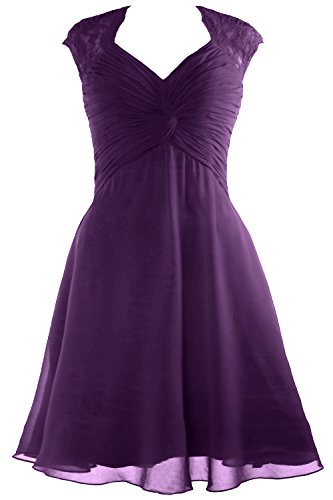 MACloth Women Cap Sleeve Lace Chiffon Cocktail Dress 2017 Short Bridesmaid Dress Eggplant