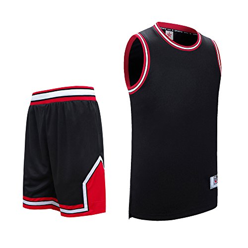 Quick Drying V Neck Vest Top Basketball Shorts for Men-Black//White Sanheng Mens Basketball Vest Top /& Shorts Set