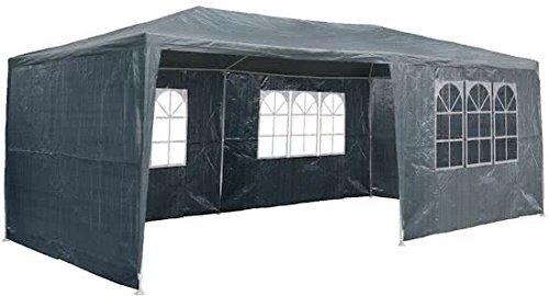 Maxx 6x 3m gazebo birreria feste padiglione include 6pareti laterali, 4x finestre, 2x porta con chiusura lampo, impermeabile pe plane in nero (6x 3m con 6pareti laterali, antracite)