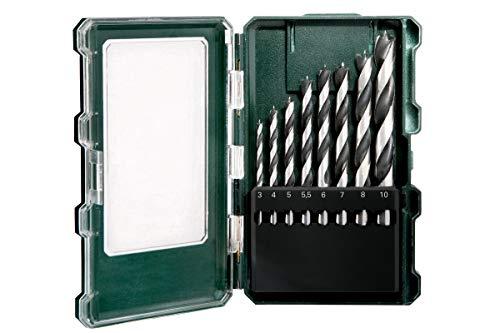 Metabo Holzbohrer-Kassette SP (8-teilig, Größe ø 3-10 mm, Holzspiralbohrer mit Zentrierspitze, Kunststoffbox) 626705000