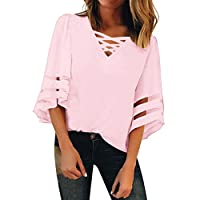 TINGZI Women'S Tees V Neck Mesh Panel Blouse 3/13 Bell Sleeve Casual Loose Top Shirt Loose Fit Comfy Tunic(Pink,US-10/CN-XL)
