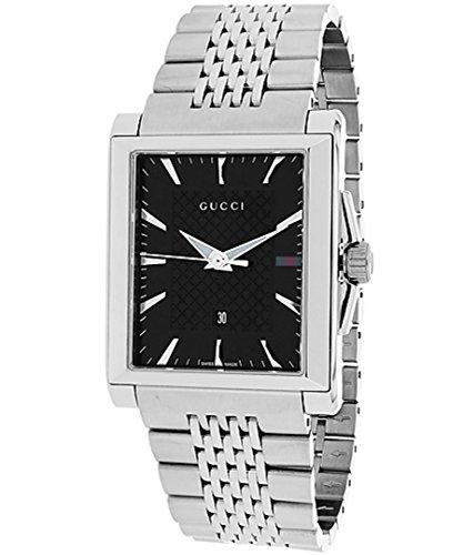 Gucci G-Timeless / orologio uomo / quadrante nero / cassa e bracciale acciaio