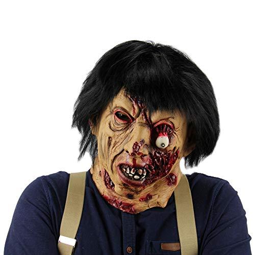 WYBXA Cabeza De Máscara De Terror De Halloween, Máscara De Látex De Alma De Payaso, Máscara De Sangre De Murciélago, Máscara De Fantasma De Pelo Negro,8