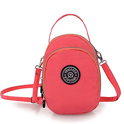 TianHengYi Small Water Resistant Nylon Cross-body Purse Three Layers Cell Phone Pouch Handbag for Teens Pink