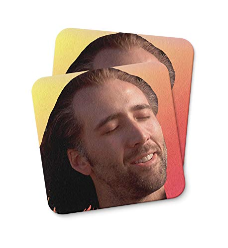 Con Air Nicolas Cage Coaster For Drinking Coffee Tea Beverages Kitchen Home Décor Gift Coaster PACK/SET OF 2 (Nicolas Cage, Con Air)