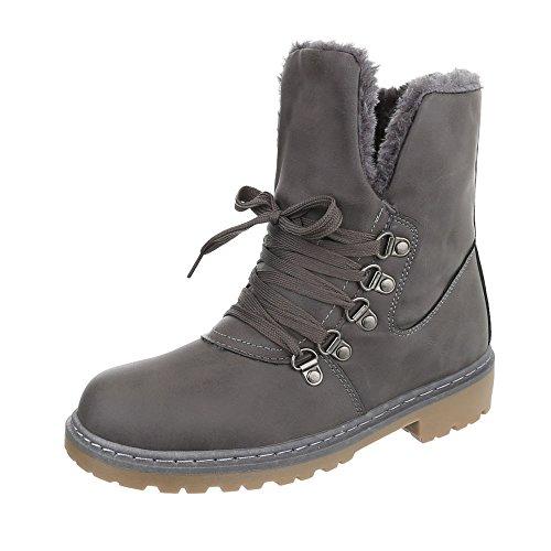 Ital-Design Schnürstiefeletten Damen-Schuhe Combat Boots Blockabsatz Warm Gefütterte Schnürsenkel Stiefeletten Grau, Gr 38, Zy9103- (Kälte Kostüm Frauen)