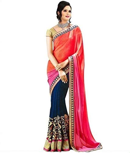 Florence Women\'s Multicolor Georgette Embroidered Saree With Un-Stitched Blouse