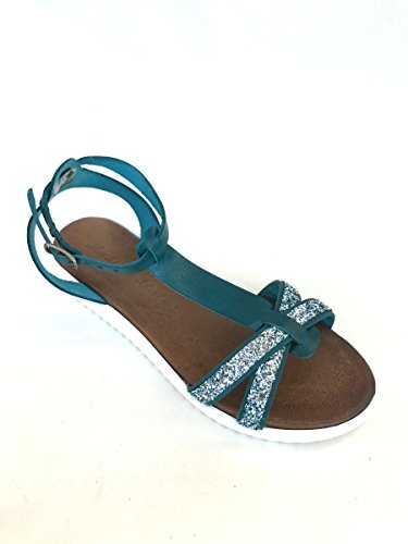 Sandali strass CL219-551 in pelle tacco basso suola bianca MainApps Verde